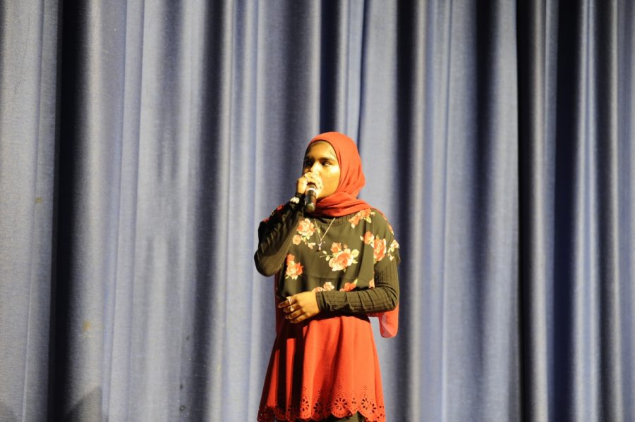 "Masuma Begum '19 beatboxing to ""Young Dumb & Broke"" at the S.O. Talent Show."