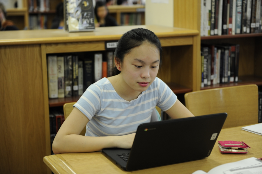 Cindy Cai '20 studies hard online for her upcoming exams during her free period.