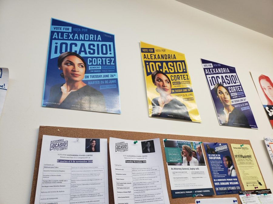 The walls of the campaign office are filled with eye-catching posters of not just Alexandria herself, but of fellow politicians whom she supports.
