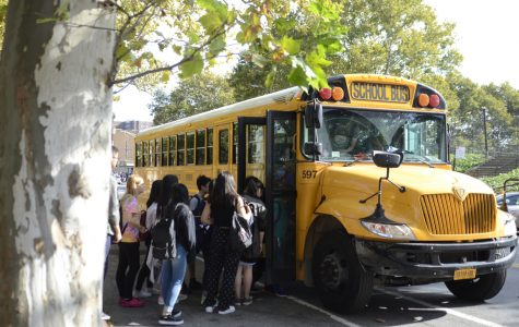 Students board a Vallo bus, a main mode of transportation to and from Bronx Science. Many students take Vallo because without it, their commutes would cut further into their already sleepless schedules.