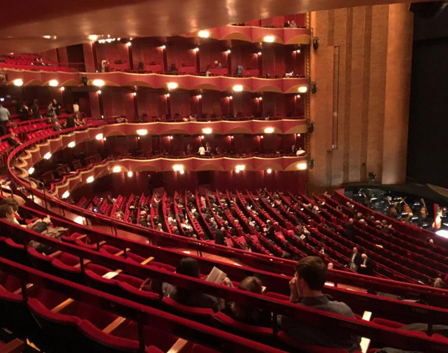 A view from the audience of the Metropolitan Opera House.