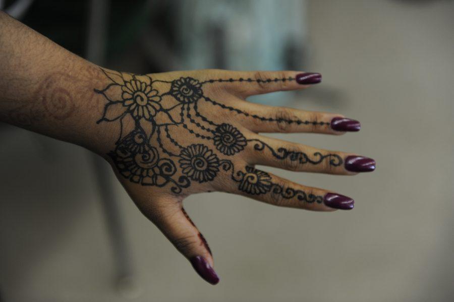 A henna design done in black.