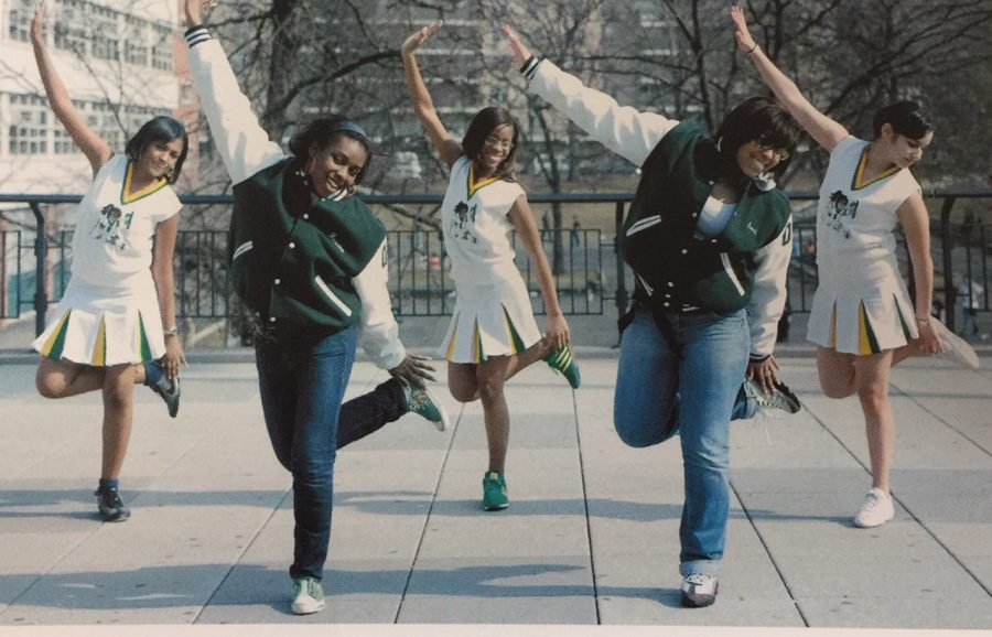 "The Bronx Science Cheerleading Team, circa 2010, also nicknamed ""The Divas,"" strikes a pose for the camera."
