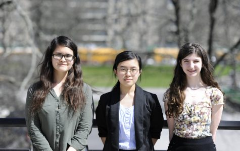 Caption: Second place winner Michelle Li '19 (middle) and honorable mentions Julia Gonzales '19 (left) and Sylvie Koenigsberg '20 (right).