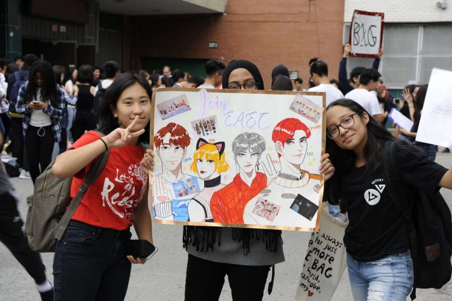 From left to right: Estee Yi '20, Sina Hossain '20, Jessica Jimenez '20 representing the East Asian Entertainment Club