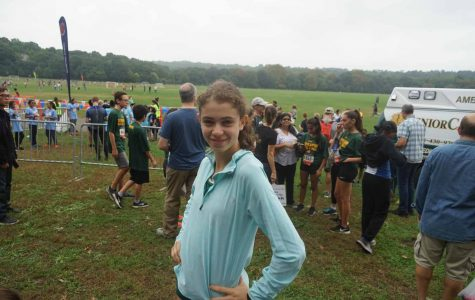 Zoe Cooper before the Girls' Varsity 3.1 Mile Race at Van Cortlandt Park, in the Bronx.
