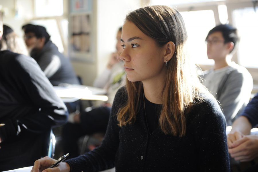 Katarina Kovacevic '29 listens attentively to Dr. Abrams during her second period American Studies class.