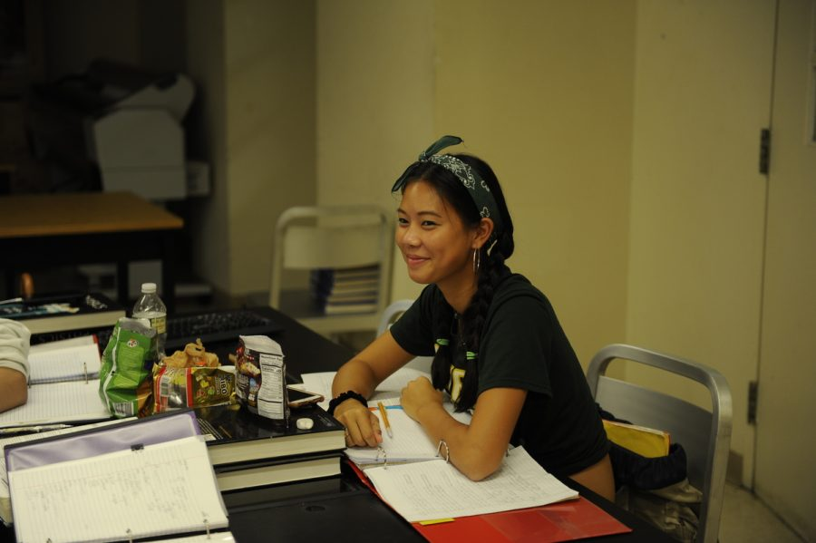Perene Wang '19 studying in her AP Physics C Class.
