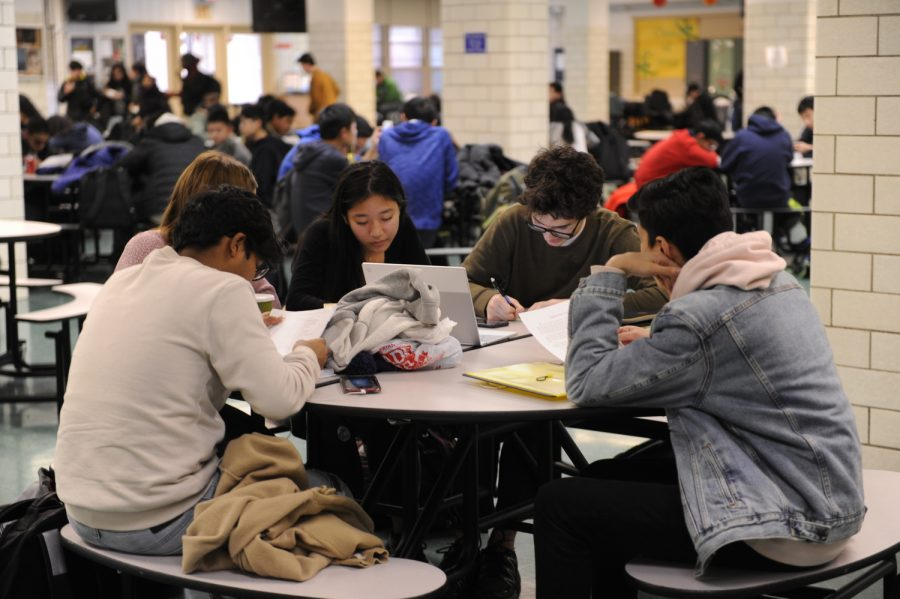 A group of Bronx Science students study for their MidYear Exams in the student cafeteria.