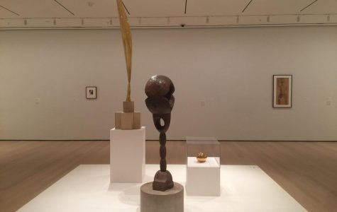 """From left to right: 'Untitled (Head of a Young Woman)' (1910), 'Bird in Space' (1941), 'Socrates' (1922), 'The Newborn (Version I)' (1920), and 'Study related to """"The First Step""""' (1913)"""