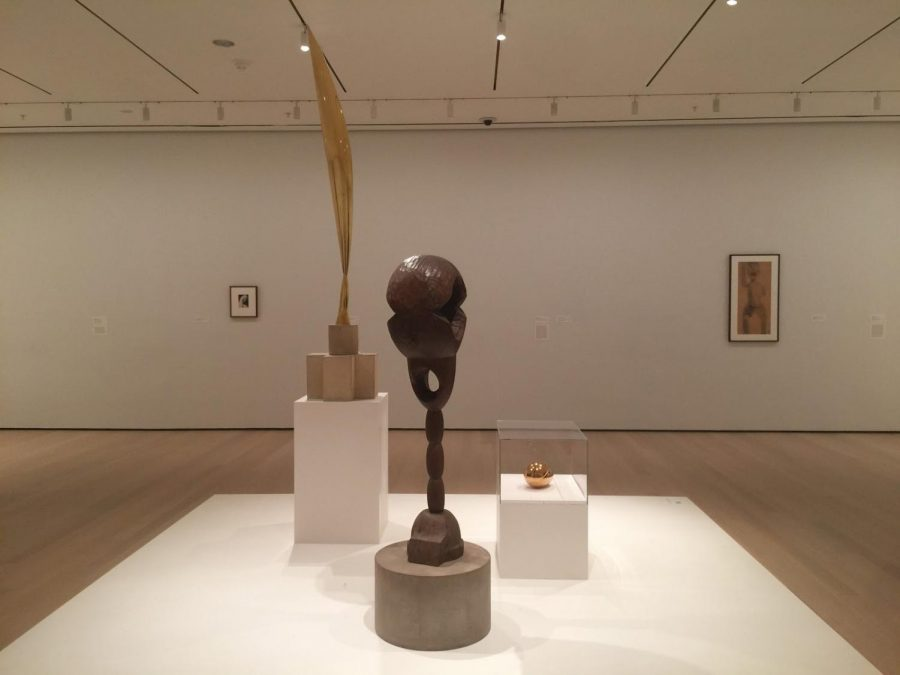"From left to right: 'Untitled (Head of a Young Woman)' (1910), 'Bird in Space' (1941), 'Socrates' (1922), 'The Newborn (Version I)' (1920), and 'Study related to ""The First Step""' (1913)"