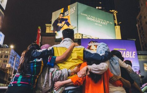 Anik Khan and his loved ones admire his new billboard in Times Square, promoting his new song.