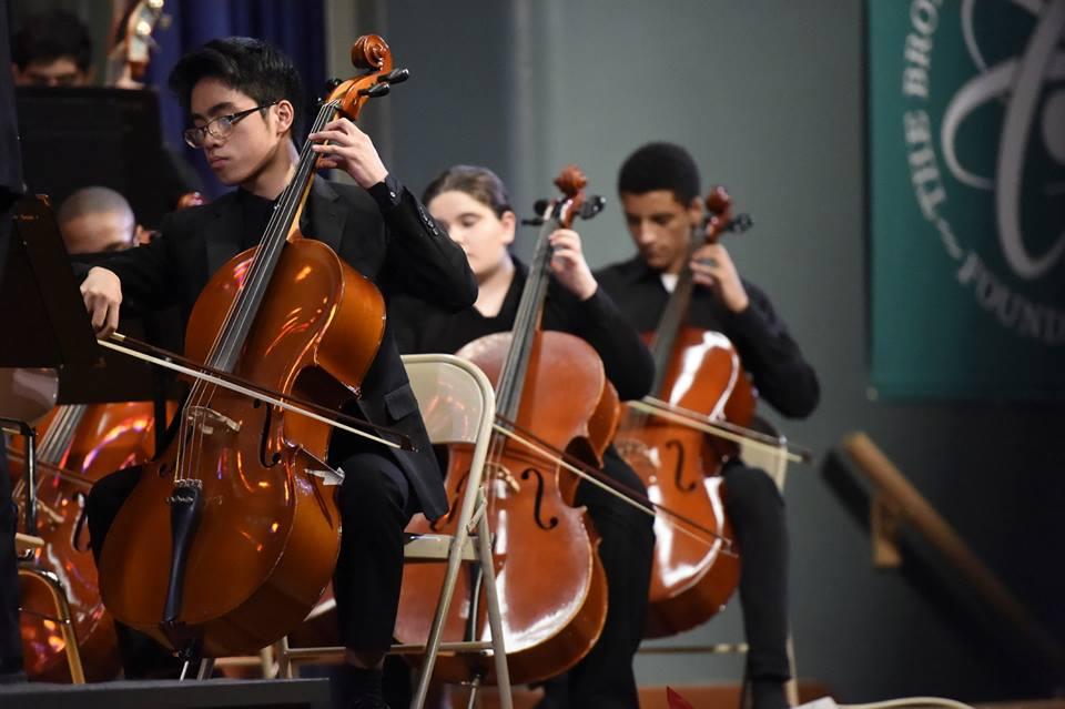 Judge Sanchez is the First Chair cellist in orchestra. From left: Judge Sanchez '19, Aviva Schwartz '21, Alex Warren '19.