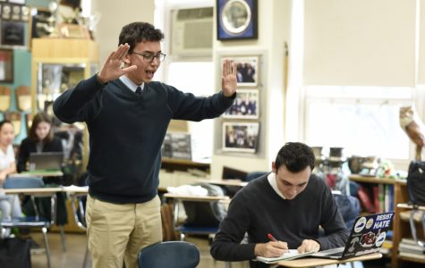 Congressional debaters, Jonathan Bar-On (left) and Nathan Felmus (right) prepare for a debate tournament at Princeton where they discussed Supreme Court term limits.
