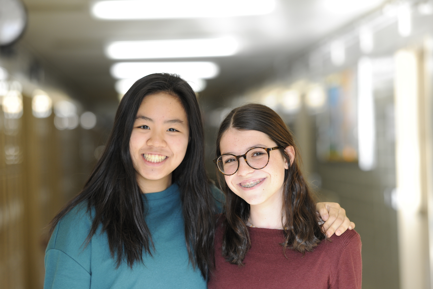 """I don't think we should totally count [genetic modification] out for the future,"" Sarah Lydon '21 said (right).  Emma Nguyen '21 (left) said, ""It does have potential."""