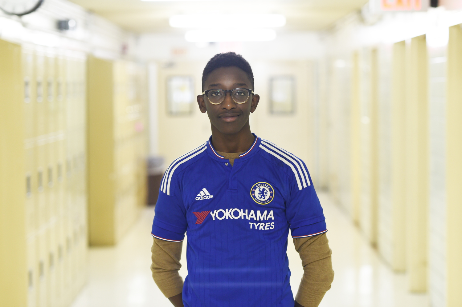 LiChai Epperson '19 wears his favorite Chelsea jersey.