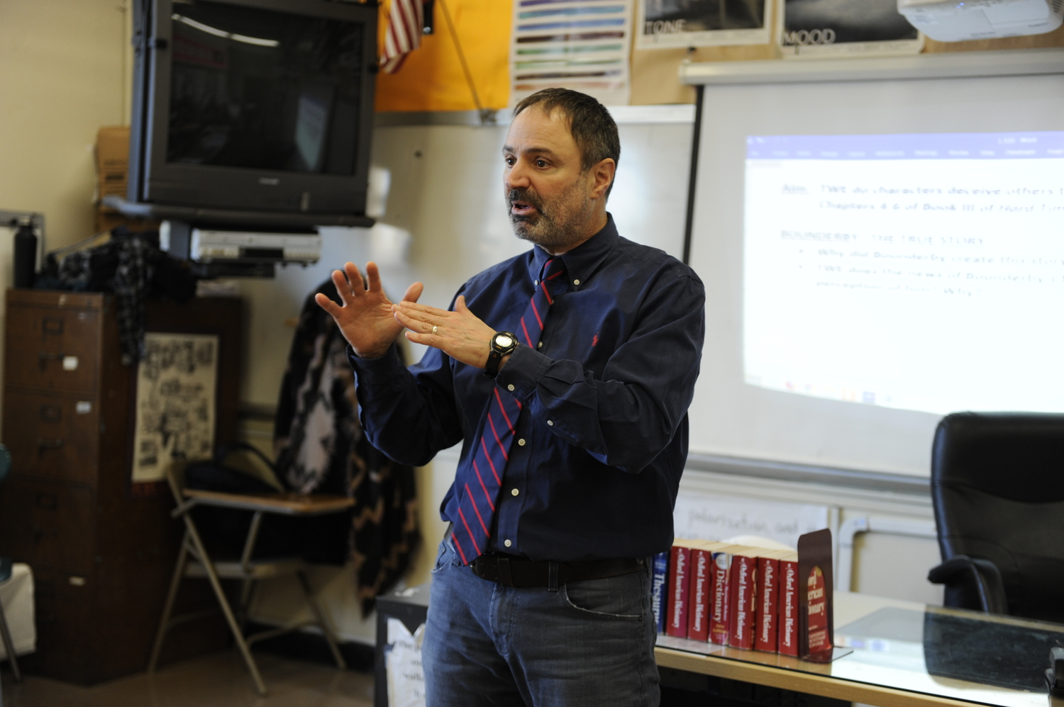 Mr. Gazzola speaks to his class about the dynamics  of the plot in Shakespeare's 'Macbeth.'