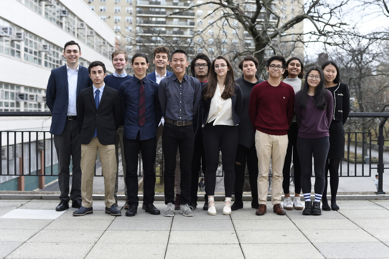 Regeneron Scholars and Semi-Finalists (from left to right): Nathan Felmus '19, Daniel Brous '19, Eli Zerof '19, Leon Ahronian '19, Joseph Doraid '19, Alex Chen '19, William Chen '19, Chloe Frajmund '19, Olga Khmelnitsky '19, Kevin Liu '19, Anika Kalra '19, Annie Liu '19, and Yea Won Lee '19.