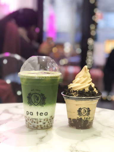 Oolong Green Tea Latte and Salted Caramel Oolong Tea soft serve at Bar Pa Tea.