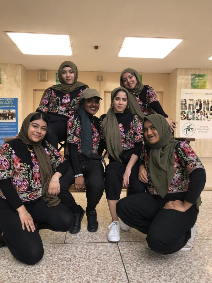 A hijab is worn by Muslim women of all backgrounds as a representation of their faith, as shown above by some of our Muslim, female Bronx Science students.