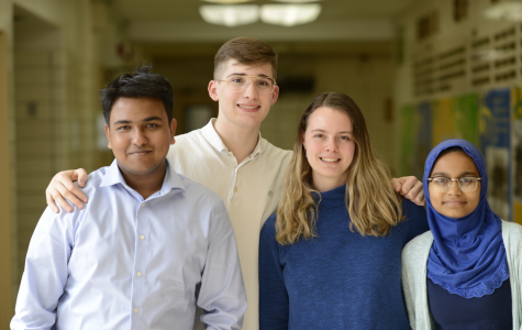 From left to right: Mohammed Islam '19, Jonathan Nicastro '19, Elinor Poole-Dayan '19, Amena Khatun '19 all give advice regarding scholarships and college.