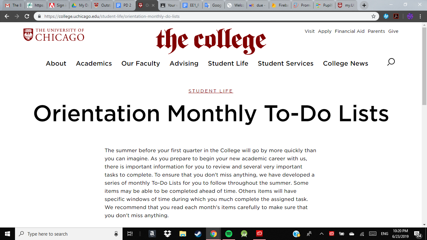 UChicago has several pages on its website dedicated to keeping incoming students on track.