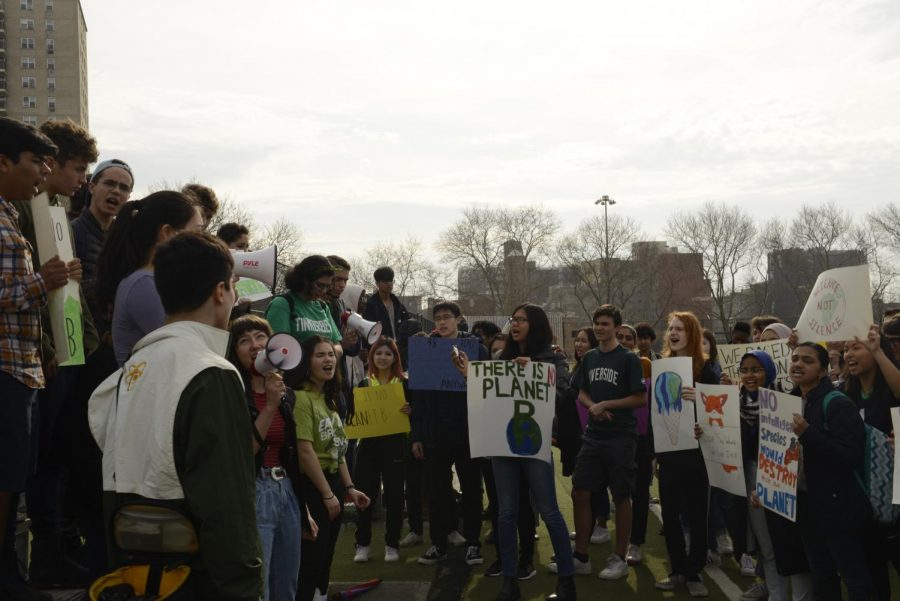Students on Harris Field advocate for those in power to take action to address the Climate Crisis.