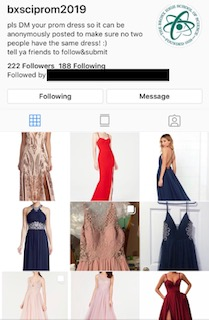 The Bronx Science Instagram page, where students submit pictures of their prom dresses.