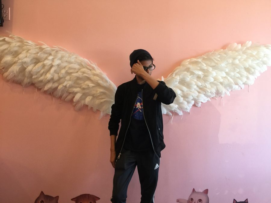 Sowad Ocean Karim '19 posing in front of the angel wings at Sweet Cats Cafe