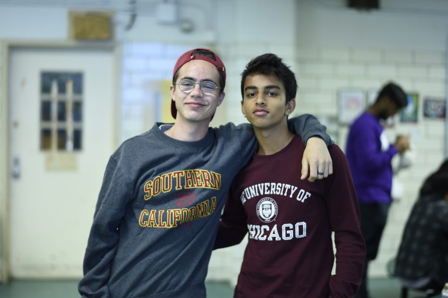 Students pose for College Apparel Day as thousands across the country receive this year's admissions decisions.