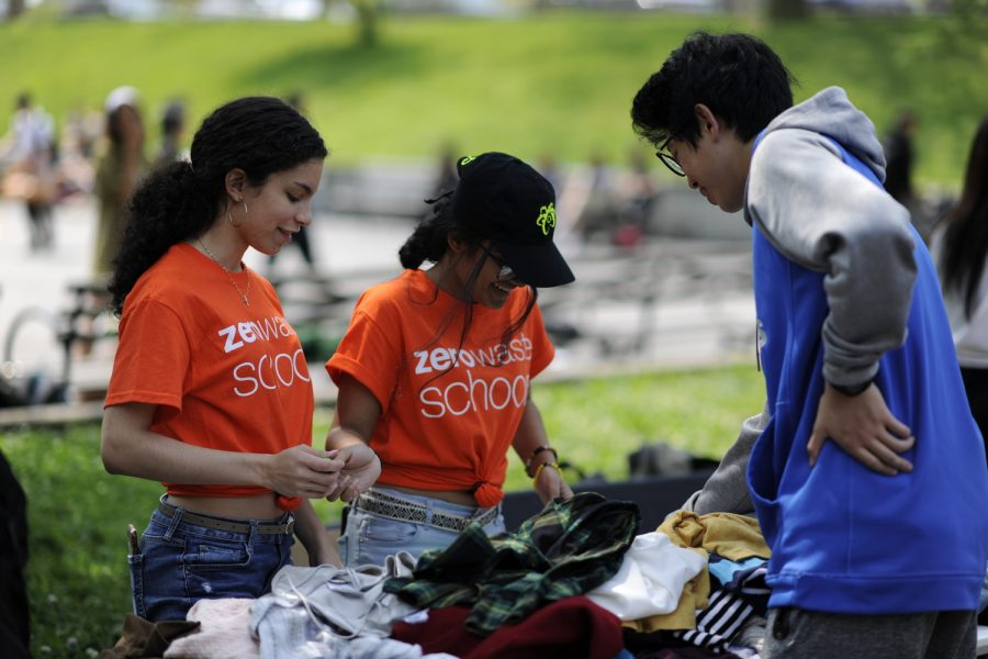 Students at Bronx Science work at the Annual Earth Day Fair.