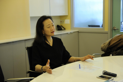 Min Jin Lee '86 discusses her book and her experience at Bronx Science with staff on the Science Survey during her interview in December 2017, paying a visit to be inducted into the school's Hall of Fame.