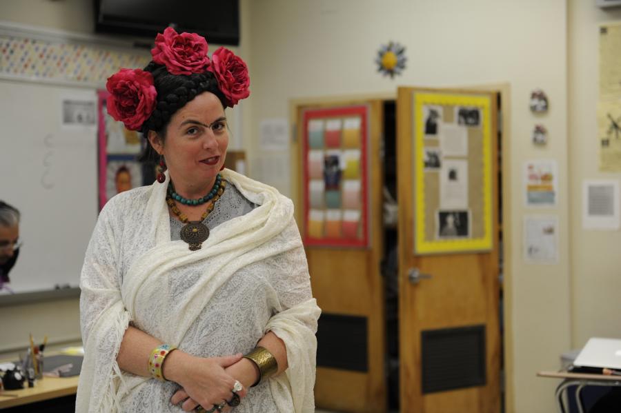 AP Spanish Teacher, Sra. Olmedo, poses in costume as Frida Kahlo for Halloween