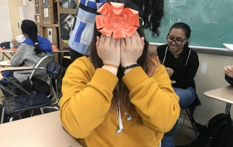 Amanda Francisco '20 poses with one of her creations from the DIY Club.
