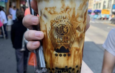 "Tiger Sugar's signature Brown Sugar Drink has stripes of brown sugar running down the sides of the cup, giving the drink that iconic ""tiger stripe"" look."