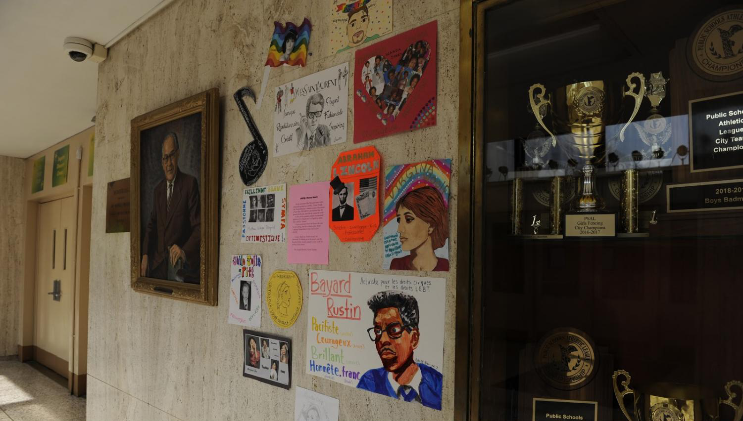 Mr. Blessent's LGBTQ+ icon arts project is displayed throughout the hallways; he seeks to promote a more inclusive school environment.