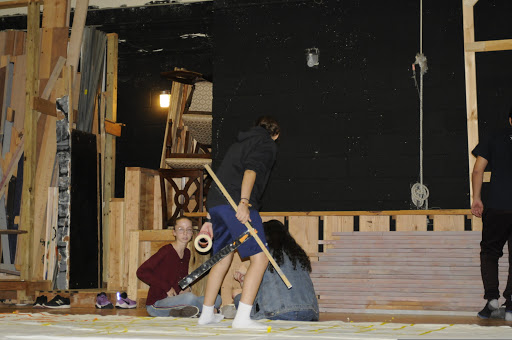 Cast busy in work building the set for musical 'Bye Bye Birdie'.
