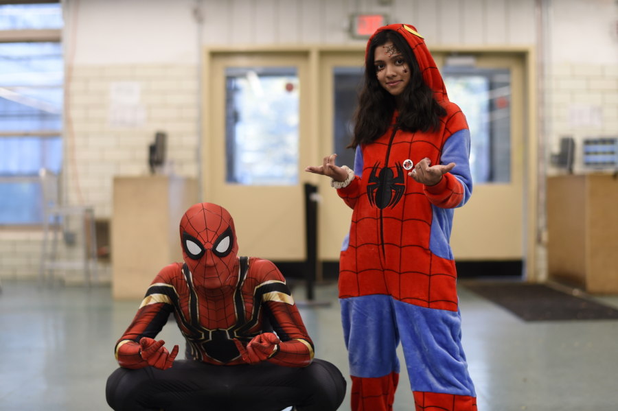 """Pictured above are Shomit Mian '21 and Aymon Choudhury '21 posing as spiderman amid Monster Mash festivities. """"I was stuck on Bronx Science Halloween festivities!"""" said Choudhury."""