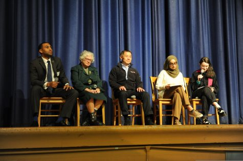 Senator Bailey '00, Senator Liu '85, and Senator Stavisky '56 answer questions for students attending the assembly held in their honor.