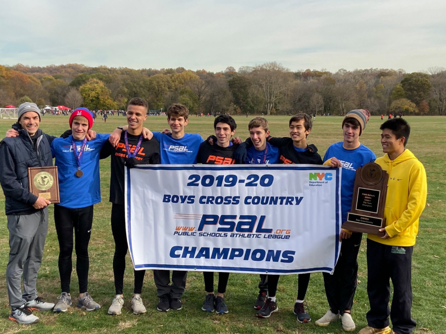 Cross country coaches and the varsity team claim the coveted PSAL banner.