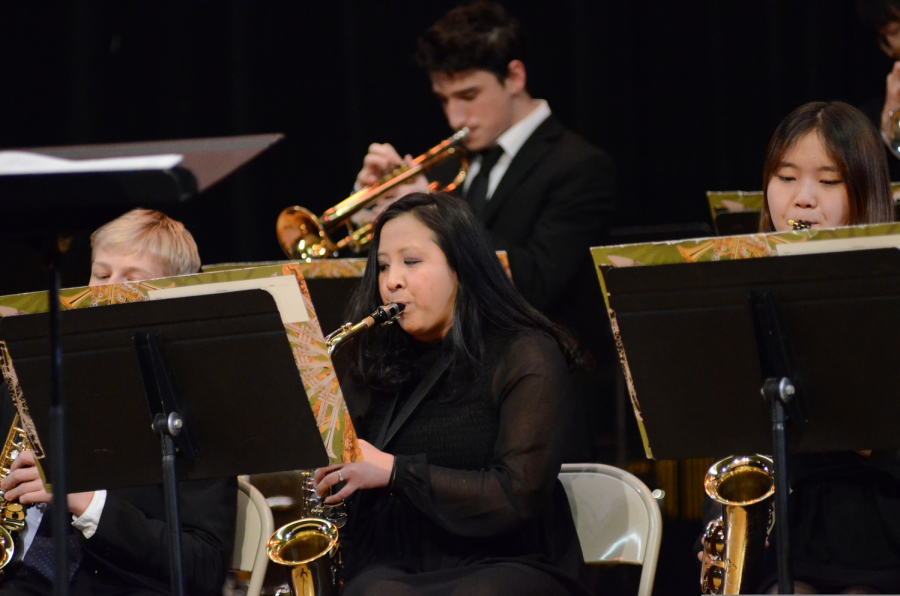 """Once I stepped onto the stage, I felt completely different; all I could feel was not fear, but the desire to create music for everyone to enjoy,"" said Jazz Band alto sax player Phoebe Anne Marbid '21."