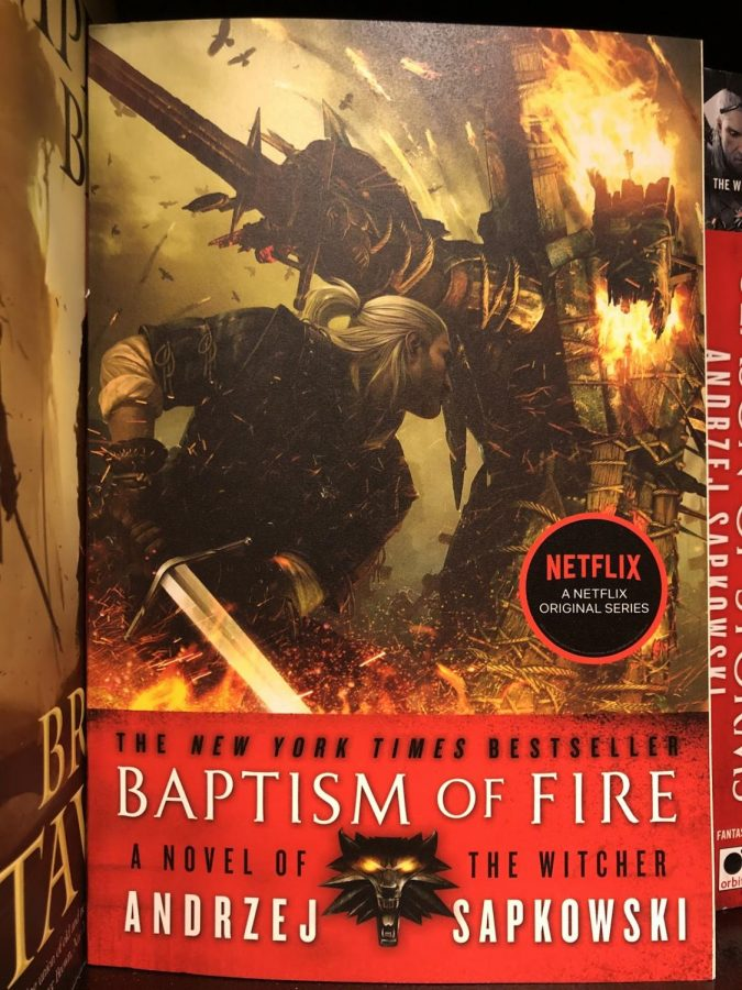 'The Baptism of Fire' is the third novel in the Witcher series written by Andrzej Sapkowski. The cover art depicts the main character, Geralt, slaying one of the numerous monsters found throughout the series.