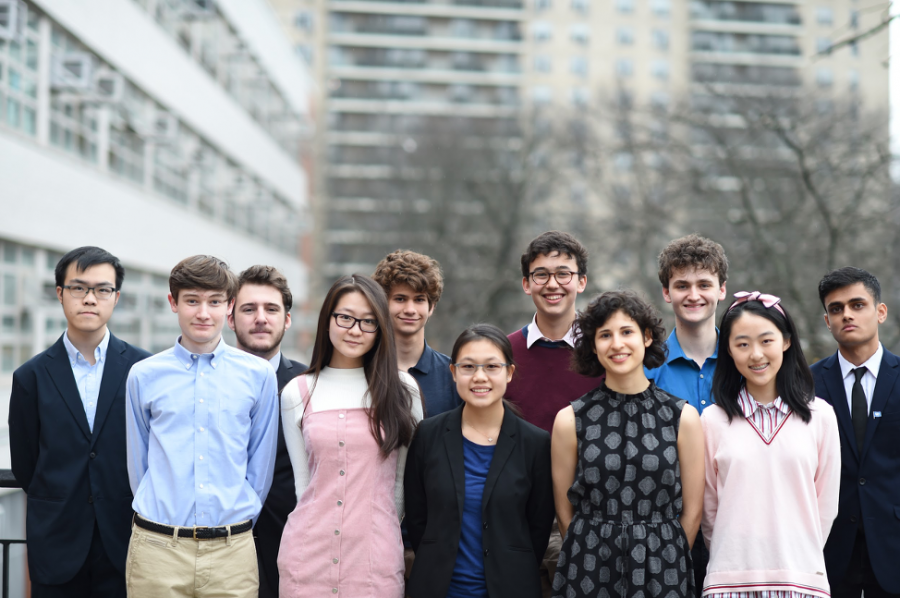 Regeneron semifinalists from left to right: (back row) Kevin Zheng '20 , Jared Lenn '20 , Wyatt Morgan '20 , Jonathan Bar-On '20 , Jonah Massey '20 , Syed Wahid '20 (front row) Jeffrey Munsell '20 , Helen Shao '20 , Emily Chan '20 , Zhaleh Mahootian '20 , Yi Xie '20