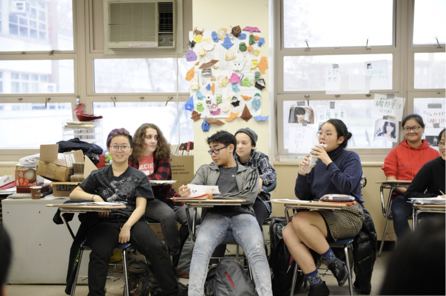 An A.P. Japanese class and Bronx Science enjoys a lively conversation.