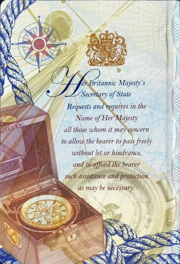 The British passport features many royal symbols and illustrations such as this one on the inside cover.