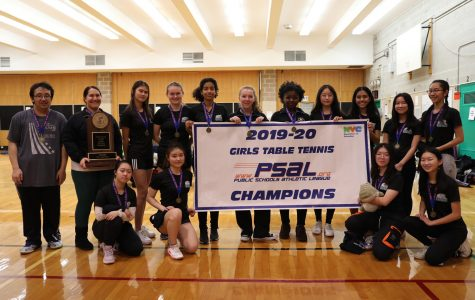 The Bronx Science Girls' Varsity Table Tennis team has gone undefeated for two years in a row. From left to right (top): Bronx Science alumnus and volunteer coach Michael Song, coach Ms. Sisilli, Kristina Lian '22, Lara Belton '21, Joy Herrera '20, Emery John '20, manager Juliet Fleischer '20, Xinrui Ge '22, Chloe Guerrero '22,  Valerie Ng '22, Kaitlyn Lai '22. (bottom): Beryl Sin '21, Gina Seo '22, Jasmine Lo '21, Emily Shang '22