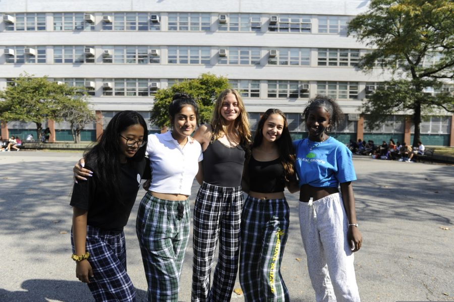 A group of students show school spirit by wearing their pajamas on Pajama Day.