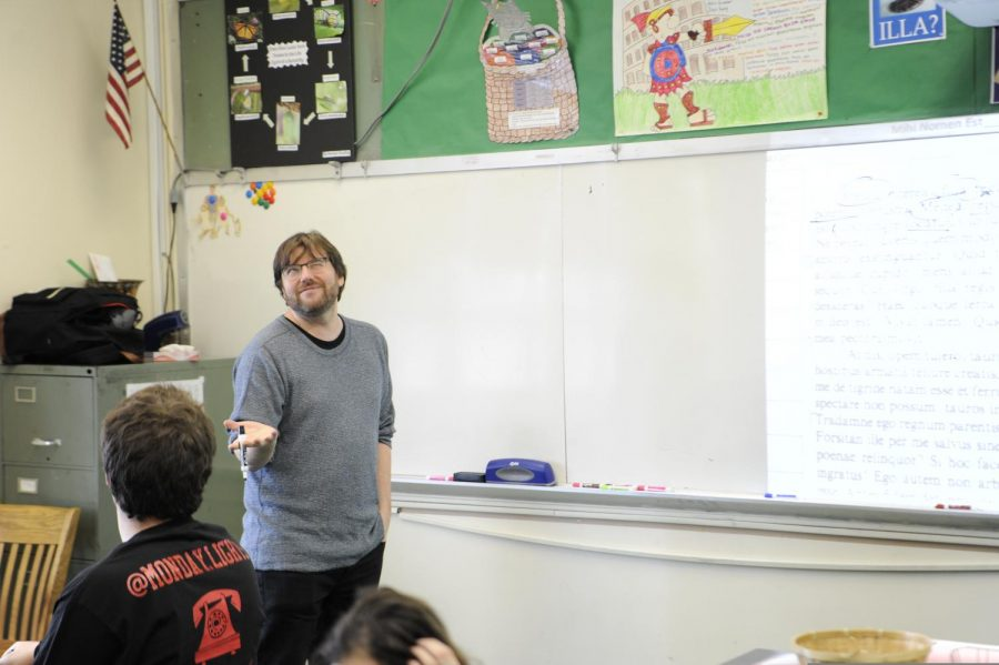 Mr Carli teaches a class of Latin, a language not dead at Bronx Science!
