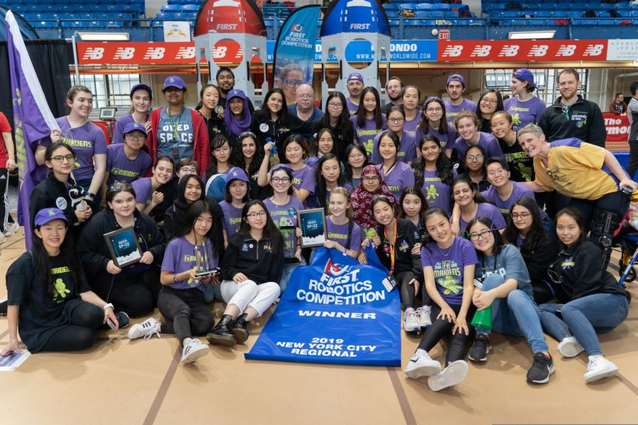 The all girl's robotics team, the FeMaidens, after they won the 2019 New York City Regional Competition!