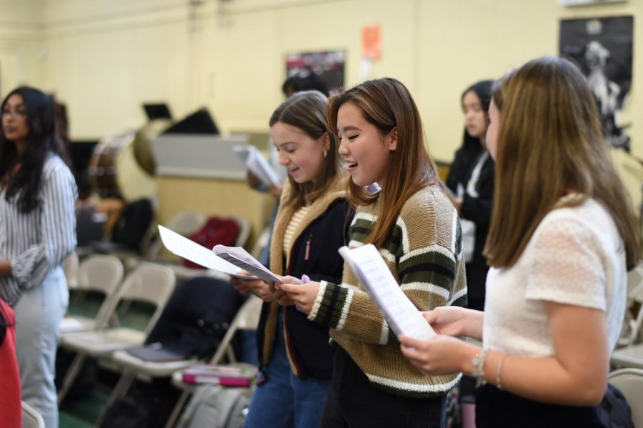A group of students passionately sing during Chorus.